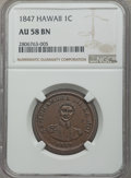 Coins of Hawaii , 1847 1C Hawaii Cent AU58 NGC. NGC Census: (52/167). PCGSPopulation: (68/218). Mintage 100,000. ...