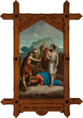 Mainstream Illustration, Continental School (20th Century). Jesus Falls the Second Time(Station of the Cross VII). Oil on canvas. 62 x 36 in.. ...