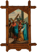 Mainstream Illustration, Continental School (20th Century). Jesus Meets His AfflictedMother (Station of the Cross IV). Oil on canvas. 62 x 36 i...