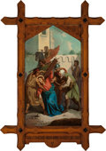 Mainstream Illustration, Continental School (20th Century). The Cyranian Helps Jesus toCarry His Cross (Station of the Cross V). Oil on canvas. ...