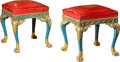Furniture , A Fine Pair of Italian Rococo Style Polychromed Wood and Stamped Leather Stools, late 19th-early 20th century. 19-3/4 h x 17... (Total: 2 Items)