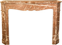 An Louis XV-Style Rouge Marble Fireplace Mantle, early 20th century 43 h x 52 w x 14 d inches (124.5 x 132.1 x 35