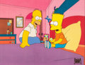 Animation Art:Production Cel, The Simpsons Homer and Bart Production Cel (Fox, 1990)....