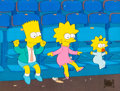 Animation Art:Production Cel, The Simpsons Bart, Lisa, and Maggie Production Cel (Fox,1992)....