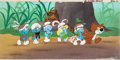 Animation Art:Production Cel, The Smurfs Production Cel Setup and Master Pan ProductionBackground (Hanna-Barbera, 1981)....