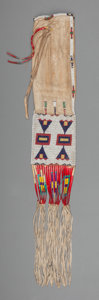 American Indian Art:Beadwork and Quillwork, A Sioux Beaded Hide Tobacco Bag. c. 1900. ...