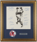 Autographs:Photos, 1956 New York Yankees Multi-Signed Display Piece Including Berra,Larsen, Ford, Rizzuto, etc....
