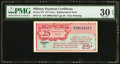 Military Payment Certificates:Series 471, Series 471 25¢ Replacement PMG Very Fine 30 EPQ.. ...