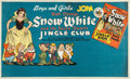 Memorabilia:Disney, Snow White Jingle Club Promotional Banner Poster (Walt Disney/KayKamen, 1938)....