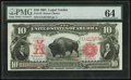Large Size:Legal Tender Notes, Fr. 119 $10 1901 Legal Tender PMG Choice Uncirculated 64.. ...
