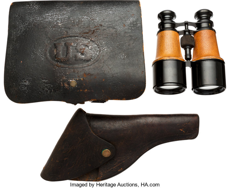 Civil War Union Cartridge Box, Antique Revolver Holster and