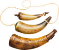 Arms Accessories:Horns, Lot of Three Antique Powder Horns.... (Total: 3 Items)