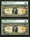 Large Size:Gold Certificates, Fr. 1187 $20 1922 Gold Certificates Two Consecutive Examples PMGChoice Extremely Fine 45.. ... (Total: 2 notes)
