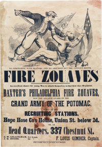 """Baxter's Philadelphia Fire Zouaves Recruitment Broadside """"No Compromise With Traitors, No Argument But the Cannon's..."""