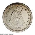 Seated Quarters: , 1863 25C AU55 NGC. A scarce Civil War issue that is more difficultto locate than its mintage of 191,140 business strikes m...