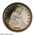 Proof Seated Quarters: , 1864 25C PR63 NGC. Lovely cameo contrast is evident on the obverse,along with some red-gold toning below Liberty, and a fe...