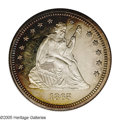 Proof Seated Quarters: , 1865 25C PR63 Cameo NGC. Honey, rose, and pale lavender colorsenrich the obverse periphery, while the obverse center and t...