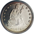 Proof Seated Quarters: , 1873 25C Arrows PR63 NGC. Peach and lemon tints endow the marginsof this sharply struck and carefully preserved example. T...