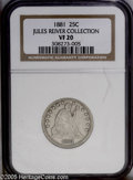 Seated Quarters: , 1881 25C VF20 NGC. Briggs 1-A. LIBERTY is crisp, although a fewletters within IN GOD WE TRUST are well worn. This cream-gr...