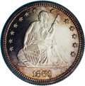 Proof Seated Quarters: , 1881 25C PR66 Cameo NGC. Briggs 2-B. There are a pair of short diescratches from the top of Liberty's right (facing) knee ...