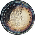Proof Seated Quarters: , 1888 25C PR66 Cameo NGC. This beautiful cameo displays richperipheral cobalt-blue, golden-brown, and lavender toning, espe...