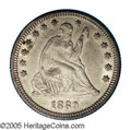 Seated Quarters: , 1889 25C AU58 NGC. Barely detectable wear on Liberty's arms andchest denies an Uncirculated assessment, but this satiny st...