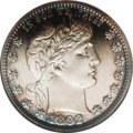 Proof Barber Quarters: , 1892 25C PR64 Cameo NGC. Type Two Reverse. The crossbar of the E in UNITED is fully concealed by the eagle's left (facing) ...