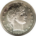 Proof Barber Quarters: , 1902 25C PR65 NGC. Dappled pastel cobalt-blue and russet toning on the obverse is complemented by deeper speckled russet on...