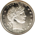 Proof Barber Quarters: , 1907 25C PR66 NGC. The design elements exhibit sharp delineation, are mildly frosted, and offer a notable contrast with th...