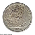 Seated Half Dollars: , 1842 50C Medium Date, Large Letters--Environmental Damage--NCS. AUDetails. WB-105. The date is broadly repunched, most evi...