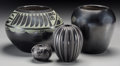 American Indian Art:Pottery, Four Southwest Blackware Items. Minnie Vigil, Linda Tafoya Oyenque,Maria Poveka, and Erik Fender. c. 1950 - 1990... (Total: 4 Items)