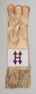 American Indian Art:Beadwork and Quillwork, A Blackfoot Beaded Hide Tobacco Bag...
