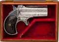 Handguns:Derringer, Palm, Cased Engraved Over & Under Derringer....