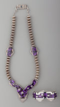 American Indian Art:Jewelry and Silverwork, A Navajo Silver and Sugilite Jewelry Suite. Ray Tracey. c. 1995...(Total: 2 Items)