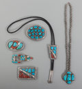 American Indian Art:Jewelry and Silverwork, Six Navajo Jewelry Items. c. 1980... (Total: 5 Items)