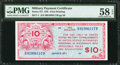 Military Payment Certificates:Series 471, Series 471 $10 PMG Choice About Unc 58 EPQ.. ...