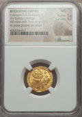 Ancients:Byzantine, Ancients: Constans II & Constantine IV (AD 654-668). AV solidus(4.43 gm). NGC MS 5/5 - 5/5....