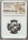 Ancients:Greek, Ancients: PHOENICIA or EGYPT. Imitating Athens (ca. 404-343 BC). ARtetradrachm. NGC Choice VF, light smoothing....