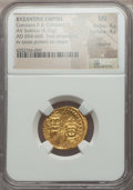 Ancients:Byzantine, Ancients: Constans II & Constantine IV (AD 654-668). AV solidus(4.43 gm). NGC MS 4/5 - 4/5, clipped....