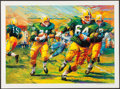 """Football Collectibles:Photos, Jerry Kramer Signed """"Packers Sweep"""" Green Bay Packers Lithograph -With Inscribed Lombardi Quote! ..."""