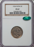 Proof Buffalo Nickels, 1936 5C Type One -- Satin Finish PR67 NGC. CAC....