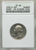 1976-S 25C Clad Washington Quarter -- Copper Nickel Clashed Dies -- PR66 ANACS. From The Blue Angel Collection of Bic