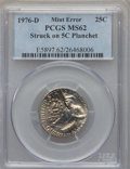 Errors, 1976-D 25C Clad Washington Quarter -- Struck on a 5C Planchet -- MS62 PCGS.. From The Blue Angel Collection of Bicenten...