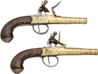 Pair of Engraved London Freeman Flintlock Pistols