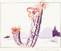 Animation Art:Concept Art, Road Runner and Wile E. Coyote Cartoon Background Layout ConceptArt by Maurice Noble (Warner Brothers, c. 1950s)....