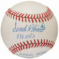 Autographs:Baseballs, Frank Robinson Single Signed Baseball With Multiple Inscriptions....