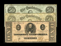 Confederate Notes:1863 Issues, April 6, 1863 Issues.. T57 $50 (2) Good-VG, HOC; XF-AU, oncemounted. T62 $1 Fine.. From The George P. Hammerly ... (Total: 3notes)