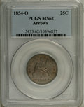 Seated Quarters: , 1854-O 25C Arrows MS62 PCGS. The strike is unusually sharp for thisissue, though the stars at the periphery have a touch o...