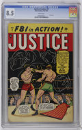 Golden Age (1938-1955):Crime, Justice Comics #7 (#1) (Atlas, 1947) CGC VF+ 8.5 White pages....