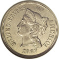 Patterns: , 1867 5C Five Cents, Judd-570, Pollock-640, R.5, PR58 NGC. Theobverse design resembles the contemporary three cent nickel, ...